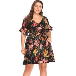 0065c25be658 New Women Sexy Summer Dress Plus Size Printed V-neck Ruffle Sleeve Dress  Causal Short Sleeve Dresses