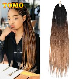 crochet braids 2019 - TOMO Crochet Braids 24Inch Long Box Braids Pure Ombre Black Brown Blonde African American Synthetic Braiding Hair Extens