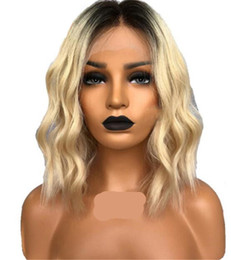 Discount remy bob wigs - ombre #613 Lace Front Human Hair Wig Bob Wavy Blonde Brazilian Remy Hair Wig With Baby Hair Side Part natural hairline