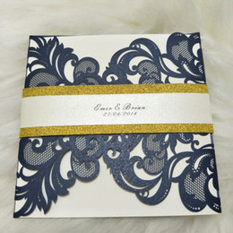 Lace invitation card designs online shopping - Lace Wedding Invitation Cards with Belt Design Laser Cut Birthday Party Invitations haifhaif