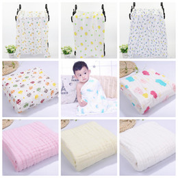Wholesale Cotton Baby Blanket Towel Baby Swaddles Gauze Bath Towel Mushroom Whale Giraffe Big Mouth Bear Printing Designs Optional LDH172