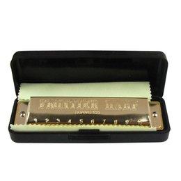 1 PCS Huang Iniciante Aço Inoxidável Blues Diatonic Harmônica 10 Buraco Boca Órgão B / bB / C # / E Chave Escolha para Instrumentos de Sopro
