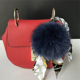 "$enCountryForm.capitalKeyWord NZ - 8cm 3.1"" Navy blue Real Genuine Fox Fur Pom Pom Ball W Silk Ribbon Rope Bag charm Car Keychain Pendant"