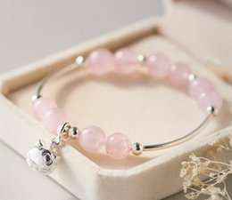 Rose quaRtz 925 steRling online shopping - Women s Authentic Sterling Silver Jewelry Natural Rose Quartz Lucky engraved Kitten Cat Chain Bracelet S331