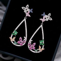 Discount wedding hoop earings - 925 silver earrings hoops for women 2018 fashion earring allergy free Wedding Jewellry Female Water Drop Earings Cubic Z