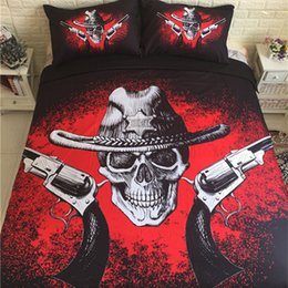 Discount bedding for queen size beds - Skull and Gun Pattern Bed Sheet Black and Red Duvet Cover Sets for King Queen Size Bed Europe Style Set Luxury Home Text