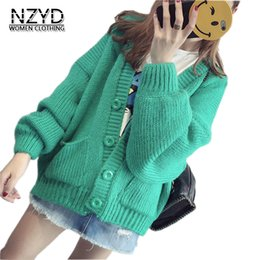 Wholesale one size sweater resale online - 2018 Spring Autumn Women Sweater Coat New Style Fashion Knit Cardigan Bat Sleeve Jacket Casual Loose One Size Sweater NZYD867
