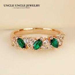 8883c9d4886c Delicada Rosa de Oro Color de la Rama de Olivo Estilo Verde Cristal de  Circón Joyería de Moda Mujer Anillo de Dedo Al Por Mayor Regalos de Navidad