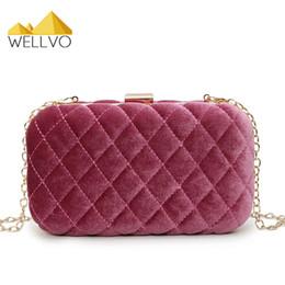 diamond chain bag 2019 - Wellvo Velvet Day Clutch Women Velour Evening Bag Diamond Lattice Hand Bags Mini Wedding Party Bridal Purse Chain Handba