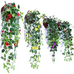Decorations fake green online shopping - Simulation Artificial Hang Baskets Flower Fake Rose Vines Wedding Wall Hanging Living Room Balcony Home Decoration Colorful mh jj