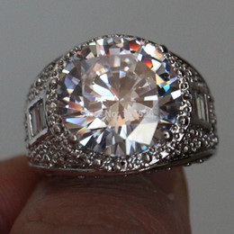 $enCountryForm.capitalKeyWord NZ - choucong Men's Huge Round cut Stone 5A Zircon stone 10KT White Gold Filled engagement Wedding Band Ring Sz 5-11 Gift