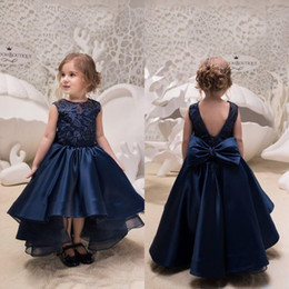Cute Lace Up Wedding Dresses Canada - 2019 Hi-Lo Asymmetrical Navy Blue Jewel Girls Formal Dresses Girl's Pageant Dresses Applique Top A-Line lace-up Bow Back Cute Kids Dress