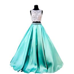 Le donne del sesso Black Turquoise Due pezzi 2018 Prom Dresses Lace Formal Girls Pageant Gowns Bordare abiti da festa economici vintage