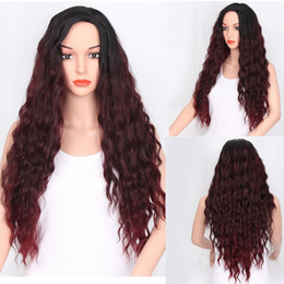 Red ombRe human haiR wigs online shopping - Ombre Simulation Human Hair Wigs For Black Women Long Peruvian Afro Kinky Curly red Hair Resistant Fiber Full Celebrity Wig