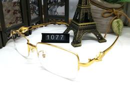 Chegada NOVA França Moda Homens Mulheres Marca Simples Espelho óculos de Sol  Óculos de Leitura de Ouro Meia Moldura Espetáculo Óculos Gafas Homme 2ba32c146d