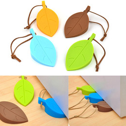 Discount cute door stoppers - Silicone Rubber Door Stopper Cute Autumn Leaf Style Home Decor Finger Safety Protection Wedge Kid Baby Safe Doorways C42