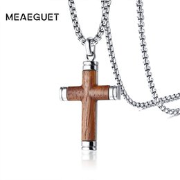 Chinese  Vintage Necklace For Men Punk Rock Rosewood Crucifix Cross Pendant Stainless Steel Chains Male Collares Collier Gifts 24