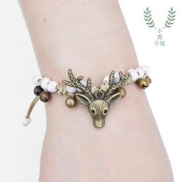 reindeer kids NZ - China Ceramic Bracelet Sweet Beaded Braided Bell Reindeer Ornaments Deer Head Hand Rope Charm Bracelets for Women Kids Christmas Gift