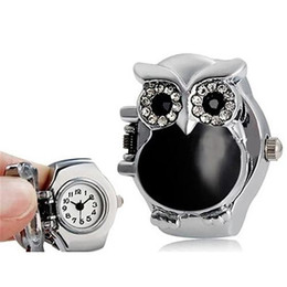 Wholesale Fashion Top Brand Luxury Women Girl Shiny Rhinestone Owl Case Stainless Steel Elastic Finger Ring Watch hot