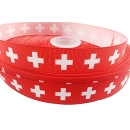 China 7 8inch 22mm First Aid Printed Red Grosgrain Ribbon Webbing Handmade Dog Collars scrapbooking Cintas Sewing Accessory Craft 50Yards lot suppliers
