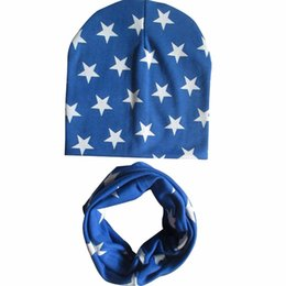 eba454a1cee Cotton Baby Hat Scarf Set Boys Girls Kids Hat Scarf Infant Hats Child Baby  Star Printed Cap Xmas