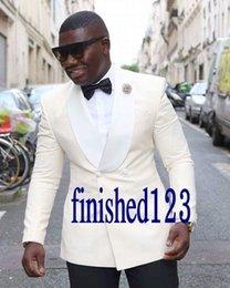 H Suit Australia - High Quality Ivory Groom Tuxedos Groomsmen Shawl Lapel Best Man Blazer Mens Wedding Suits (Jacket+Pants+Tie) H:952