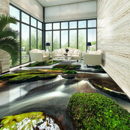 Coffee Housing Australia - Wholesale-Free Shipping Green Nature Waterfalls Stone 3D Floor Painting thickened non-slip bedroom coffee house bathroom flooring mural