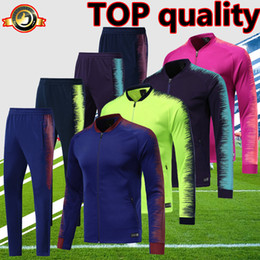 76cacac0b 2019 spain barcelona soccer jacket tracksuit Fluorescent green Royal Blue  18 19 top quality long sleeve football jacket trousers kit