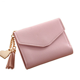 Red Credit Card Wallet NZ - 2018 new fashion solid tassel women wallet for credit cards small luxury leather short womens mini wallets and purses zipper&hasp