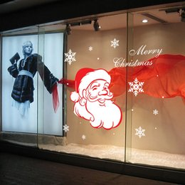 Cartoon Nature Australia - Personalized Creative DIY New year hot Cartoon Santa Claus SnowFlake Wall Stickers Mural Christmas Wallpaper Xmas Art Home Window Decoration
