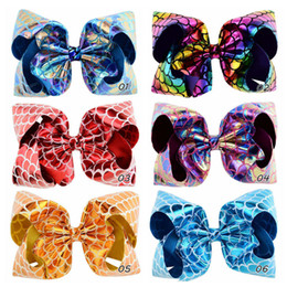 $enCountryForm.capitalKeyWord Australia - JOJO Children's Sequins Bow Hair Clips Mermaid PU Leather Fish Scales Hairpin Baby Girl Bowknot Barrettes Hair Accessories Free DHL H945F