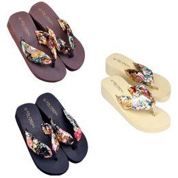 Green platform flip flops online shopping - Bohemia Floral Beach Sandals Wedge Platform Thongs Slippers Flip Flops Color US5 Size Summer Home Shoes