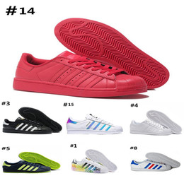 super cheap men shoes 2019 - 2018 New Originals Superstars shoes Black White Gold Hologram Junior Superstars 80s Pride Sneakers Super Star Cheap Wome