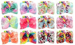 $enCountryForm.capitalKeyWord NZ - 12 designs mixed 8 inch Jojo bow card rainbow gradually changing colors ribbed ribbon unicorn printing bowknot barrette children hair clip