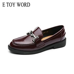 Discount flat oxfords new style women - E TOY WORD New Winter Women Oxfords Korean female flats British style Thick Shoes Comfortable Soft Leather Autumn Women