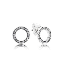 Gift Wedding UK - Authentic 925 Sterling Silver Circles Earring with Original box Fit Eternal Pandora Jewelry Stud Earring Women Wedding Gift Earrings