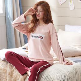 Womens Pajamas Sets 100% Cotton Long Sleeve Shirts And Pants Cartoon Print  2019 Pajama Set Sleepwear Women Sexy Spring Homewear 5c5e0e878