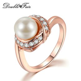 Discount pearl cluster rings white gold - Fashion Brand Austrian Crystal Rose Gold Color Simulated Pearl Rings for Women Wedding Vintage New Jewelry DWR676