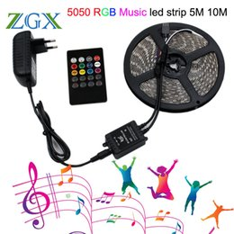12v Music Controller NZ - RGB Music sync LED Strip light SMD 5050 5M 10M 60led M Waterproof Flexible Tape diode ribbon Controller DC 12V adapter set lamp
