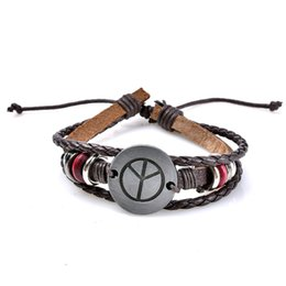 $enCountryForm.capitalKeyWord UK - Yingyang Charm Braided Bracelet Urban Jewelry Handmade PU Leather bracelets Adjustable Wristband retro Jewelry Wholesale for men drop ship