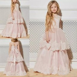 chocolate easter cakes UK - Light Pink Flower Girl Dresses with Tiered Cake A Line Jewel Short Sleeve Tulle Appliques Kids Communion Girls Pageant Dresses Floor Length