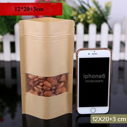 Discount biscuits pack - 12*20cm Frosted Kraft Paper Ziplock Pack Bags Heat Seal Stand Up Frosted Window Biscuit Storage Pouch Pastry Food Bags