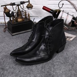 $enCountryForm.capitalKeyWord Australia - New Designer Botas Shoes High Top Pointy Toe Black Boots Genuine Leather Platform Man Shoe Med Heel Lace Up Shoes