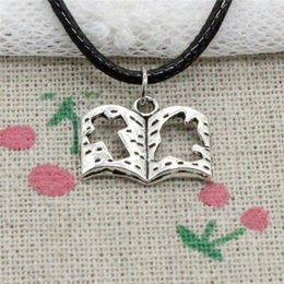 $enCountryForm.capitalKeyWord NZ - Creative Fashion Antique Silver Pendant dove cross book 13*17mm Necklace Choker Charm Black Leather Cord Handmade Jewlery
