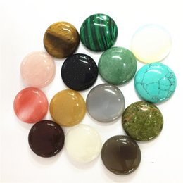 $enCountryForm.capitalKeyWord NZ - eads for jewelry making Gazelle 12PC Natural Stone Cabochons Round Bead 25mm Tiger Eye Malachite Agates Opal Fashion Beads For Jewelry Ma...