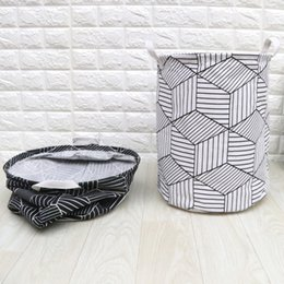 Folded Laundry Basket NZ - 3pcs lot Nordic Style Cotton Linen Fabric Laundry Basket Washing Hamper Fold Household Sundries Kids Toys Organizer Pouch 35x40cm