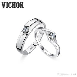 904fddcd9e 925 Sterling Silver Lover Ring Platinum Plated Women Men Adjustable Charm Jewelry  Engagement Rings Valentine's Day VICHOK