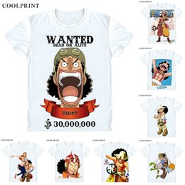 e2f44dcc COOLPRINT ONE PIECE T-Shirts Short Sleeve Shirts Anime Manga Straw Hat  Pirates Usopp Sogeking King of Snipers Usoppu Cosplay Shirt