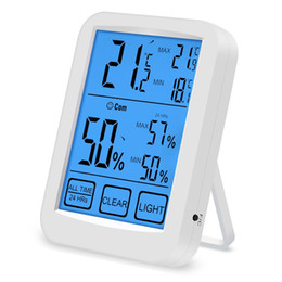 digital humidity temperature monitor thermometer UK - Touch LCD Screen thermometer Hygrommeter backlight Household digital Thermo-Hygrometer Indoor Temperature Humidity Meter Monitor white TH031