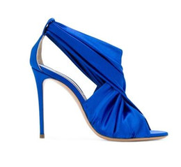 China Women Elegant High Heels Sandals Blue Satin Style 2018 Women Pumps High Heel Sandals Elegant Stiletto Evening Party Formal Dress Shoes cheap elegant evening shoes suppliers